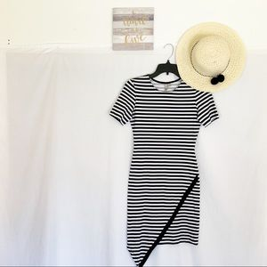 ASOS  Black & White Striped Asymmetrical Hem Dress